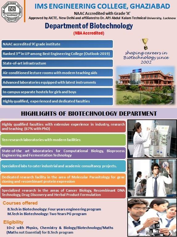 Highlights of Biotechnology Department
