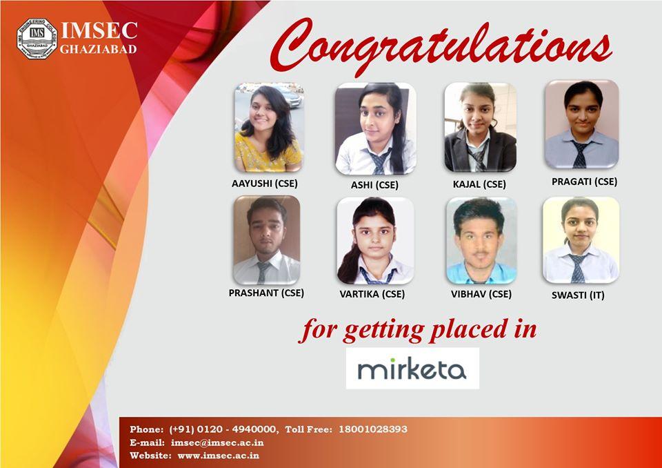 IMS Engineering College #Congratulates B.Tech #student for getting placed in #MIRKETA  #computer #imsec #ghaziabad #delhincr #delhi #career #placements #MIRKETA ta